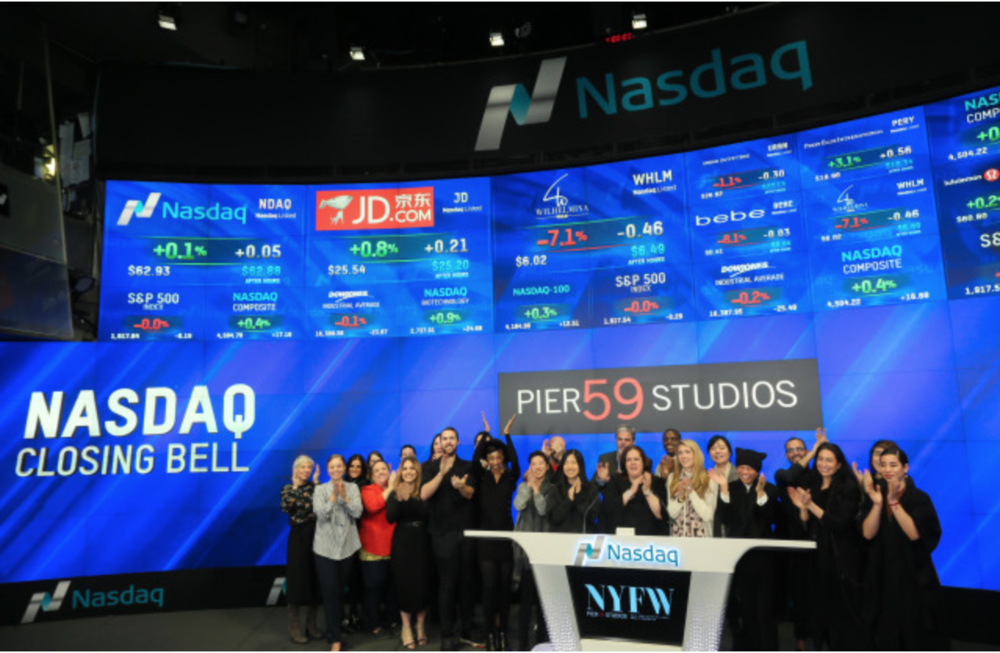 Mathieu Mirano helps Pier59 Studios' Christina Neault Ring NASDAQ's closing bell to wrap up NYFW -  WWD