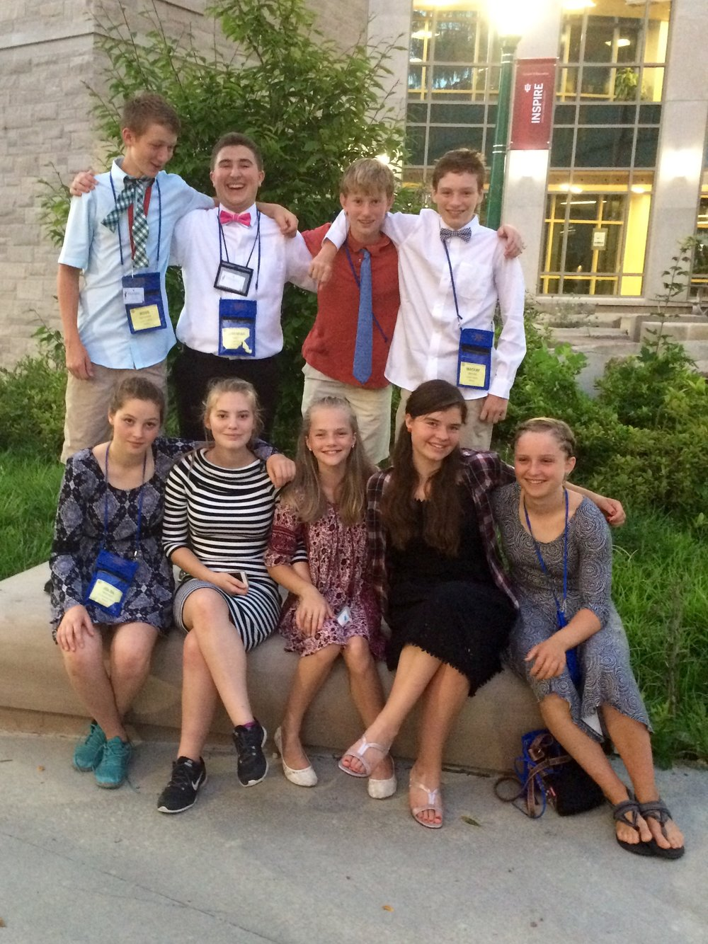 The Vermont delegation at the NJCL National Convention: Front row left to right: Joleil Whitney, Ileah Arcand, Katie Lyon, Kate O'Farrell, Waverly Griffin Back row left to right: Rossen Goodwin, Jeremiah Aiken, Holden Larsen, MacKay Breton