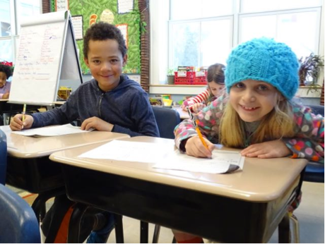 Jeremiah and Izzi worked hard in Allee's class this morning.