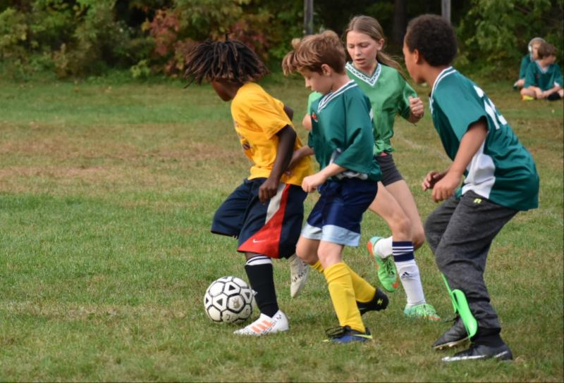 The 5-6th grade soccer team took on the Stevens School last week. Here Cameron, Macy, and Jeremiah put the pressure that helped them win the game.