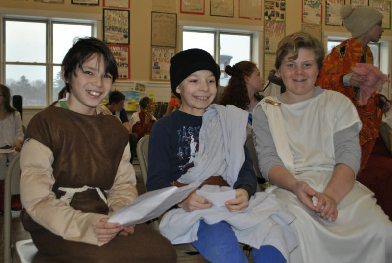 6th graders Koji, Cameron, and Nick were dressed and ready for their presentations when the Mythology Day Assembly began on Friday.