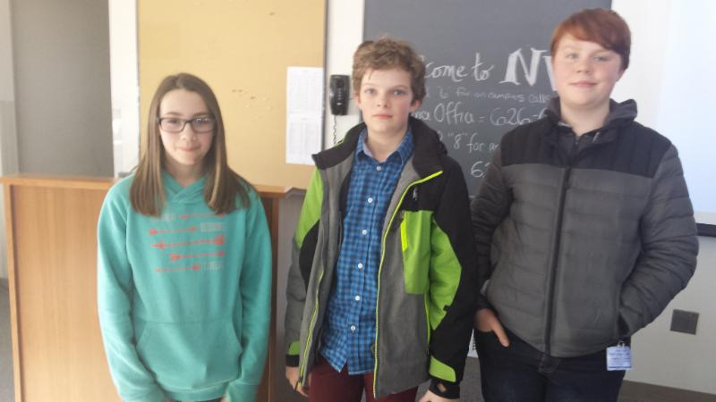 7th graders Teagan Desorchers, Donovan Randall, and Ethan Spence represented Riverside in the Northeastern Vermont regional Math Counts competition at NVU on Saturday.