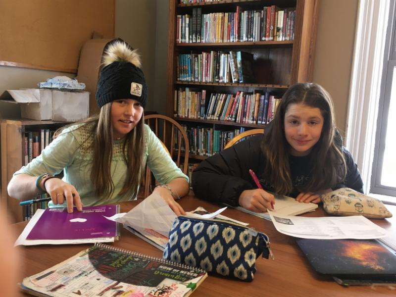 6th graders Amelie and Trixie worked together on a translation in Latin class today.