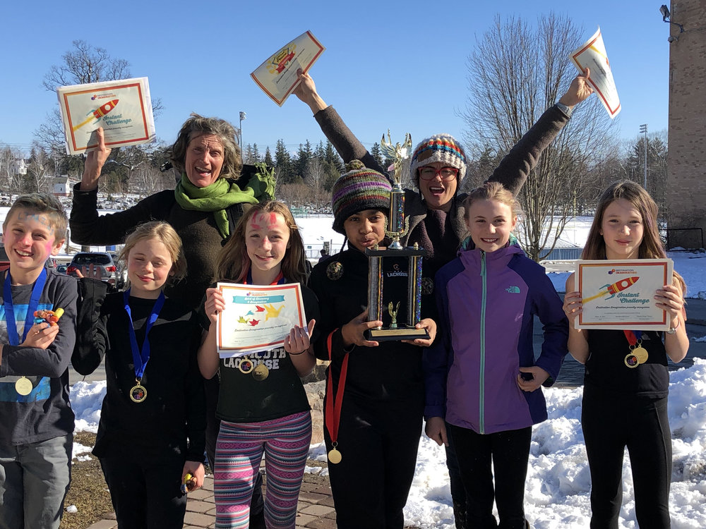 These 4-5th graders took first place in their division at the Destination Imagination tournament on Saturday! Congratulations to Lyric, Molly, Adrienne, Izzy, Seda, and their team leaders Mel Finn and Lilias Ide. And many thanks to Lyric's step-sister Lola for filling a needed spot at the last minute!