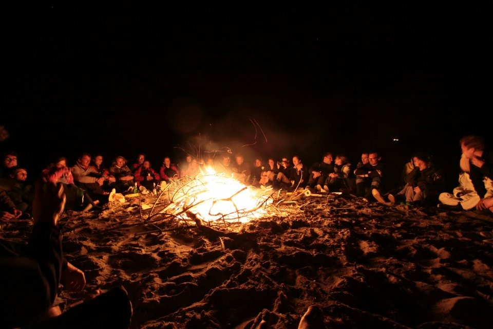 Campfire on a deserted beach in Sardinia