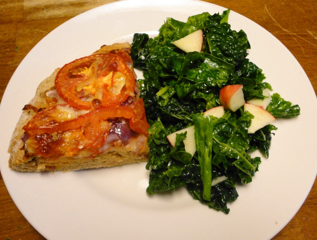 Pizza and Kale Salad