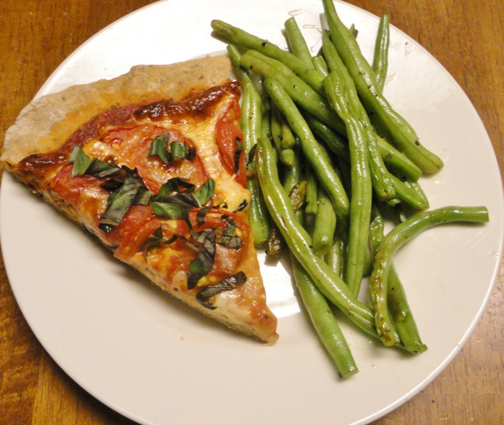 Tomato and Basil Pizza with Sauteed Green Beans
