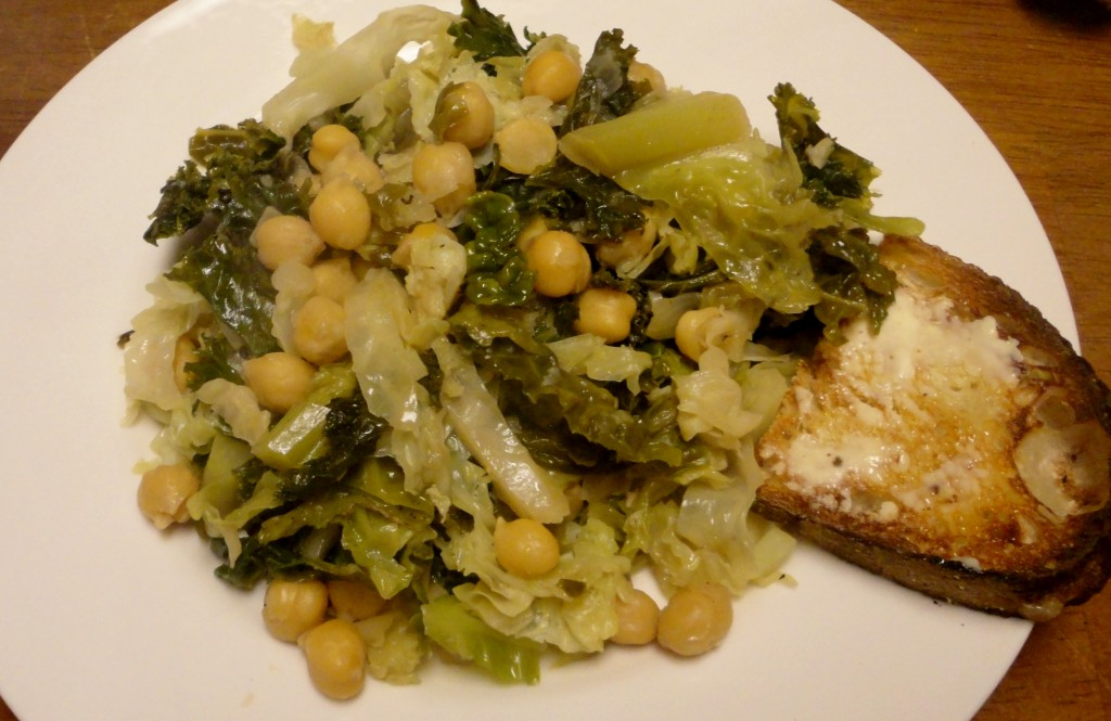 Cabbage, Kale, and Chickpea Skillet
