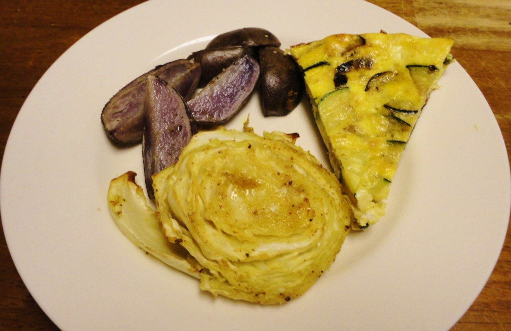 Zucchini Frittata with Honey Mustard Roasted Cabbage and Potatoes