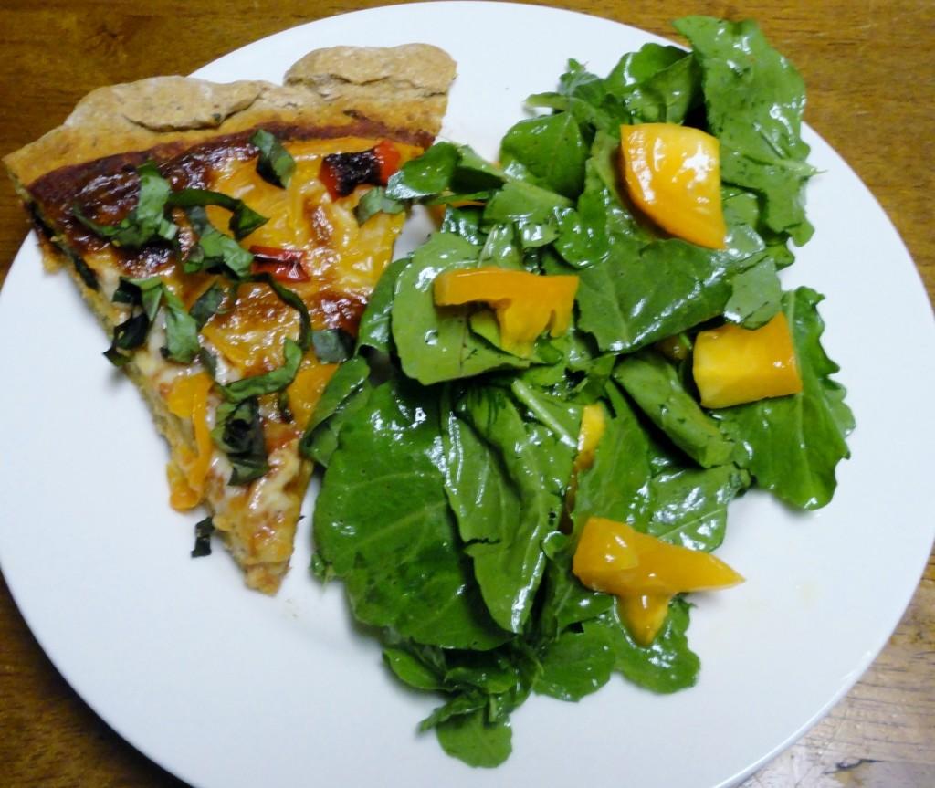 Tomato Basil Pizza with Arugula Salad
