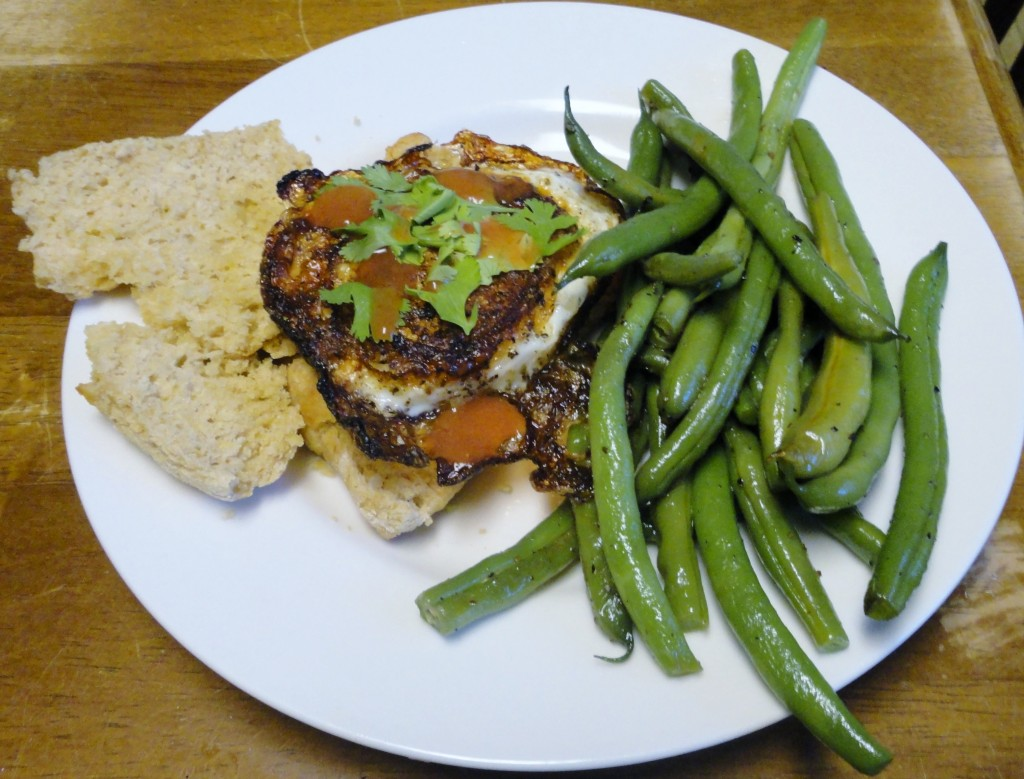 Egg Biscuits with Sauteed Green Beans