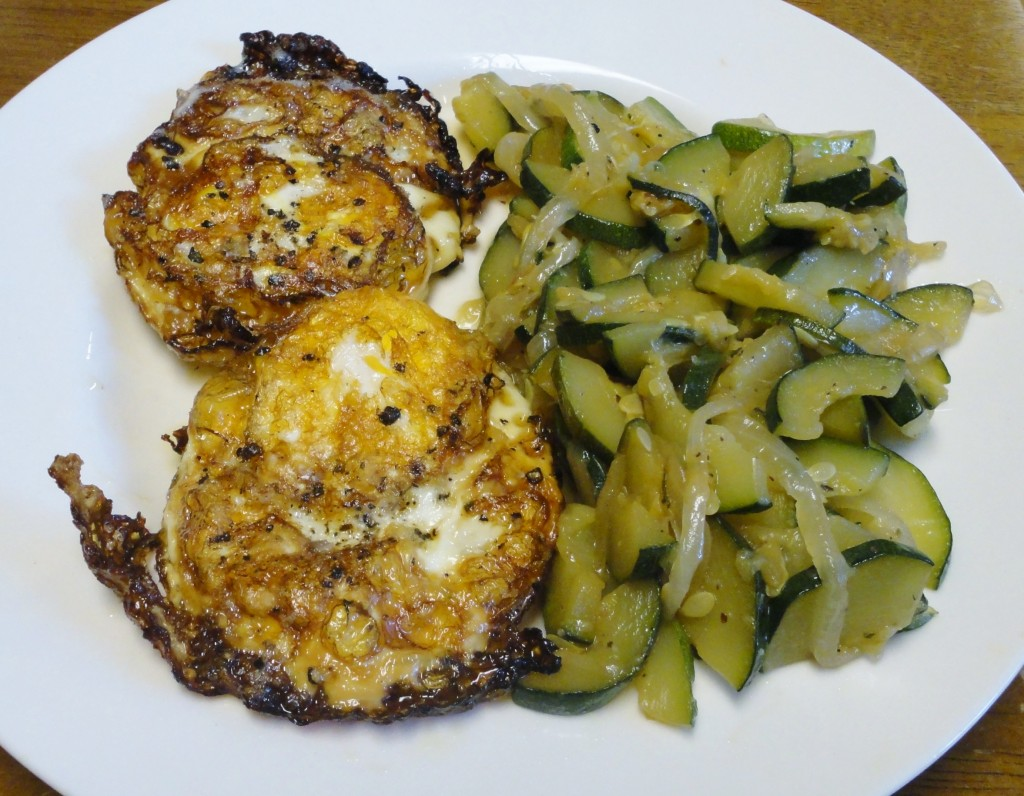 Fried Eggs and Sauteed Zucchini