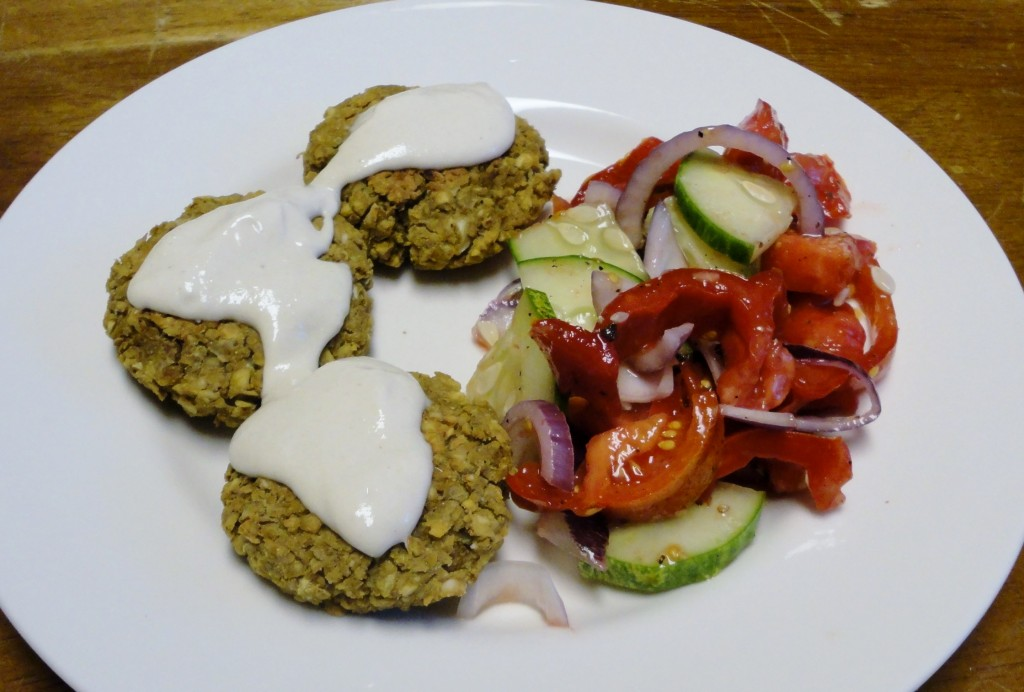 Falafel With Tomato, Cucumber, and Red Onion Salad