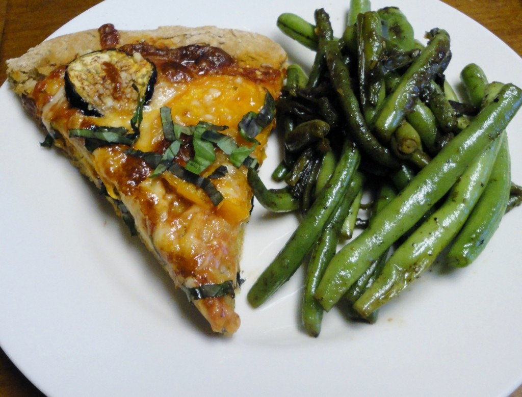Eggplant, Tomato, and Basil Pizza with Sauteed Green Beans