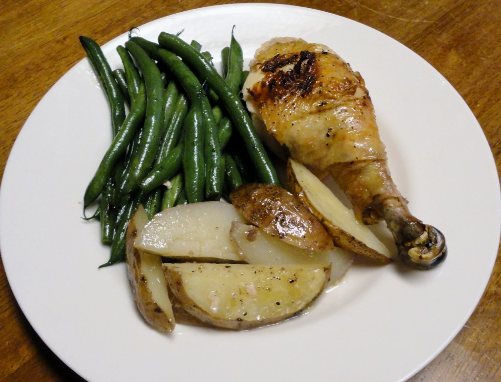 Spatchcock Chicken with Roasted Potatoes and Sauteed Green Beans
