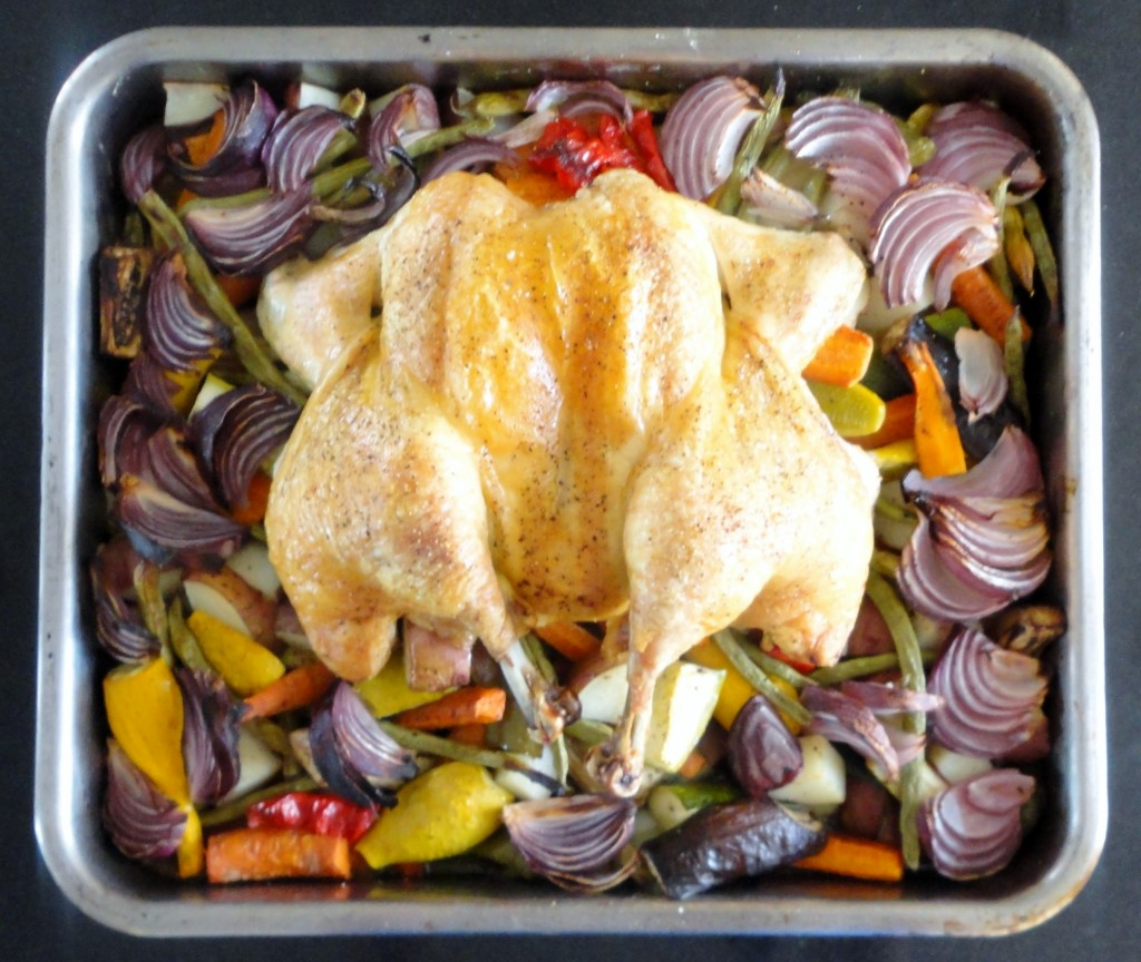 Spatchcock Chicken with Roasted Vegetables