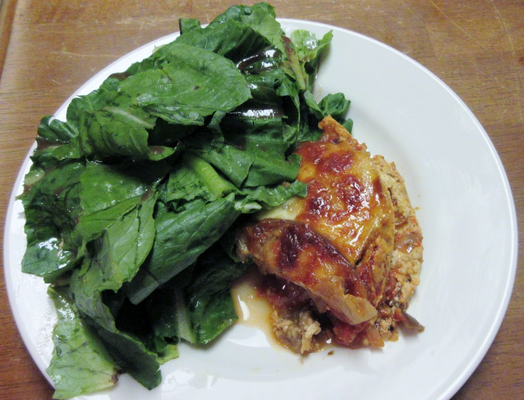 Eggplant Lasagna with Salad