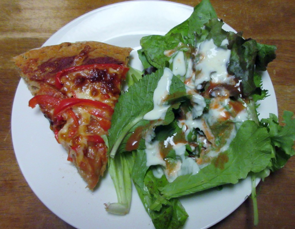 Red Pepper Pizza and Salad