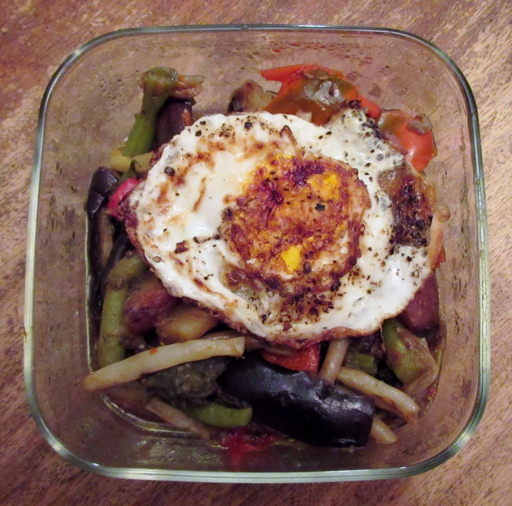Summer Vegetable Stew with Fried Egg