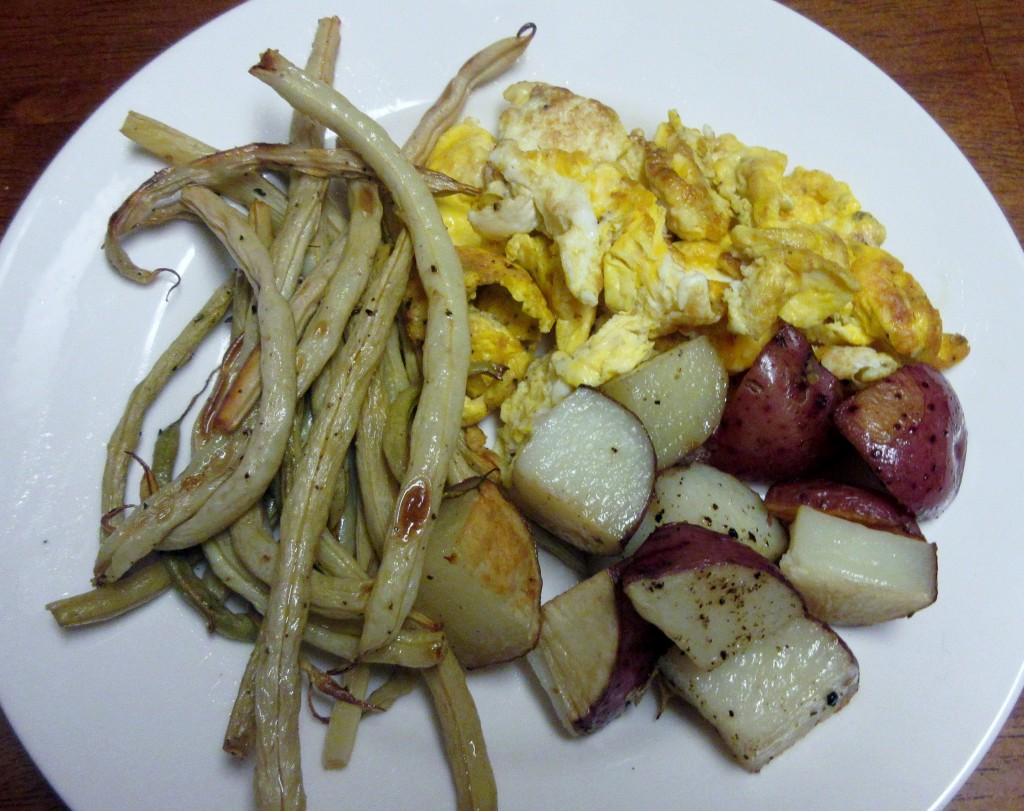Scrambled Eggs, Roasted Potatoes, and Roasted Yellow Roc d'Or Beans