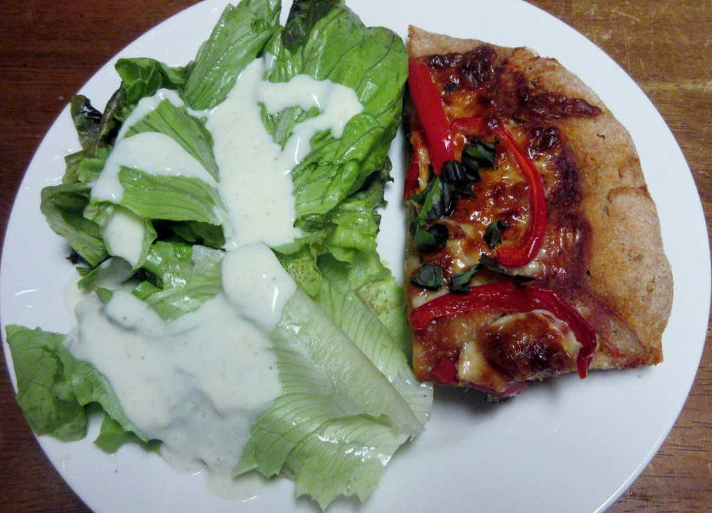 Red Pepper Pizza with Salad