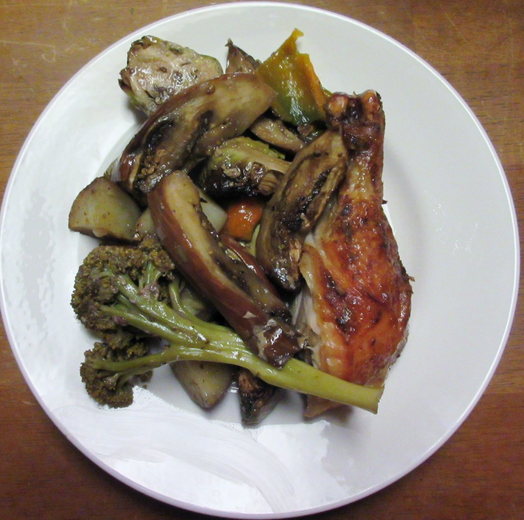 Honey Mustard Roasted Chicken and Roasted Vegetables