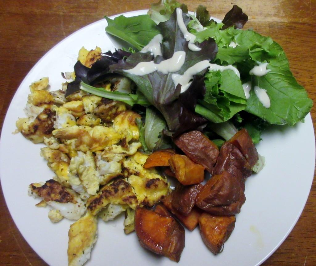 Scrambled Eggs, Roasted Sweet Potatoes, and Salad with Lemon-Garlic Tahini Dressing