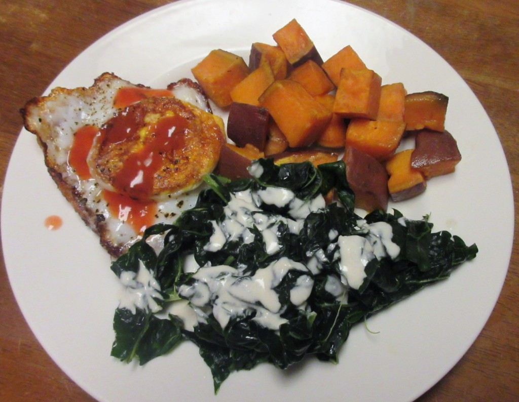 Fried Egg with Kale Salad and Roasted Sweet Potatoes