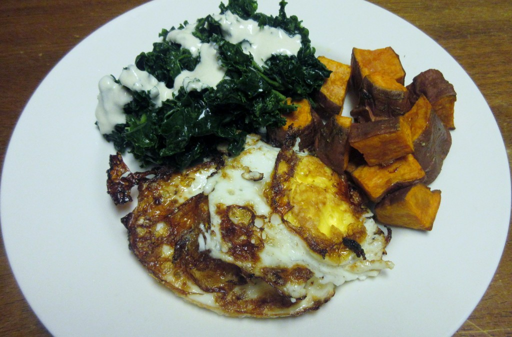 Fried Eggs with Kale Salad and Roasted Sweet Potatoes