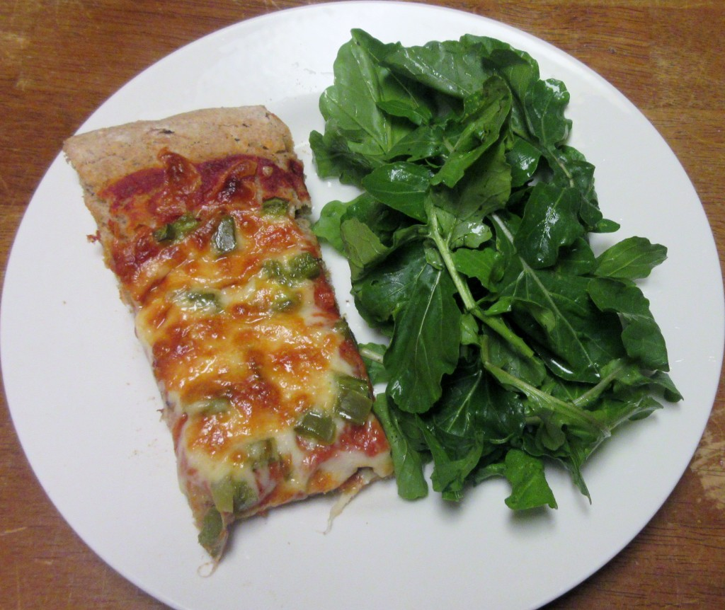 Pizza and Arugula Salad