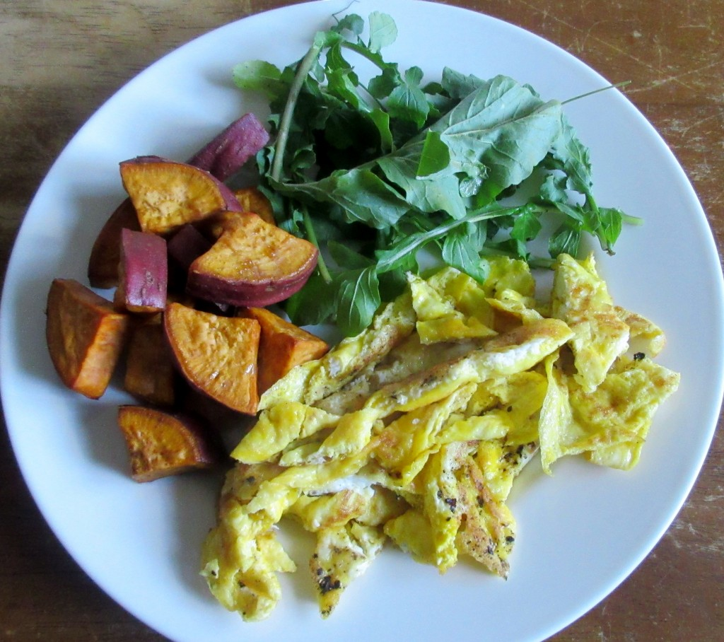 Scrambled Eggs with Roasted Sweet Potatoes and Arugula Salad