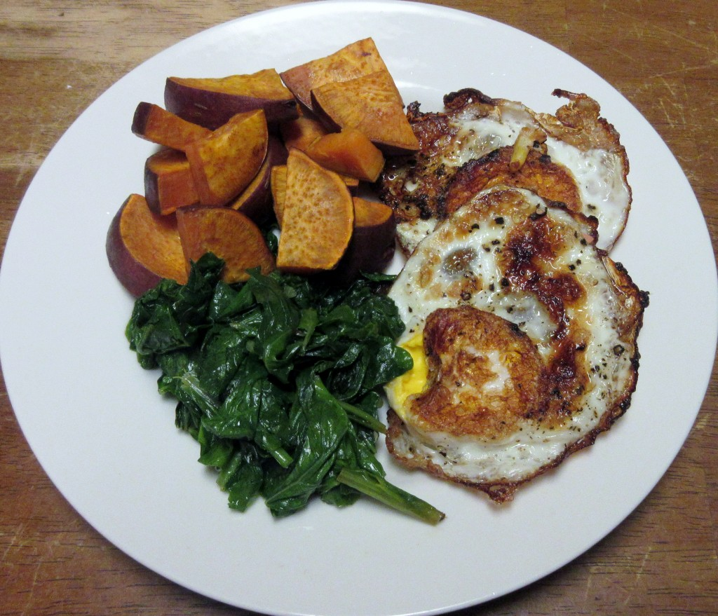 Fried Eggs with Roasted Sweet Potatoes and Sauteed Greens