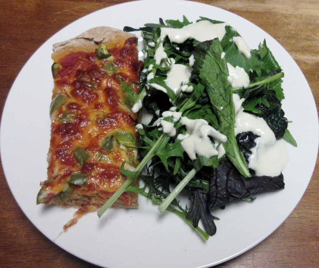 Pizza and Salad with Tahini Dressing