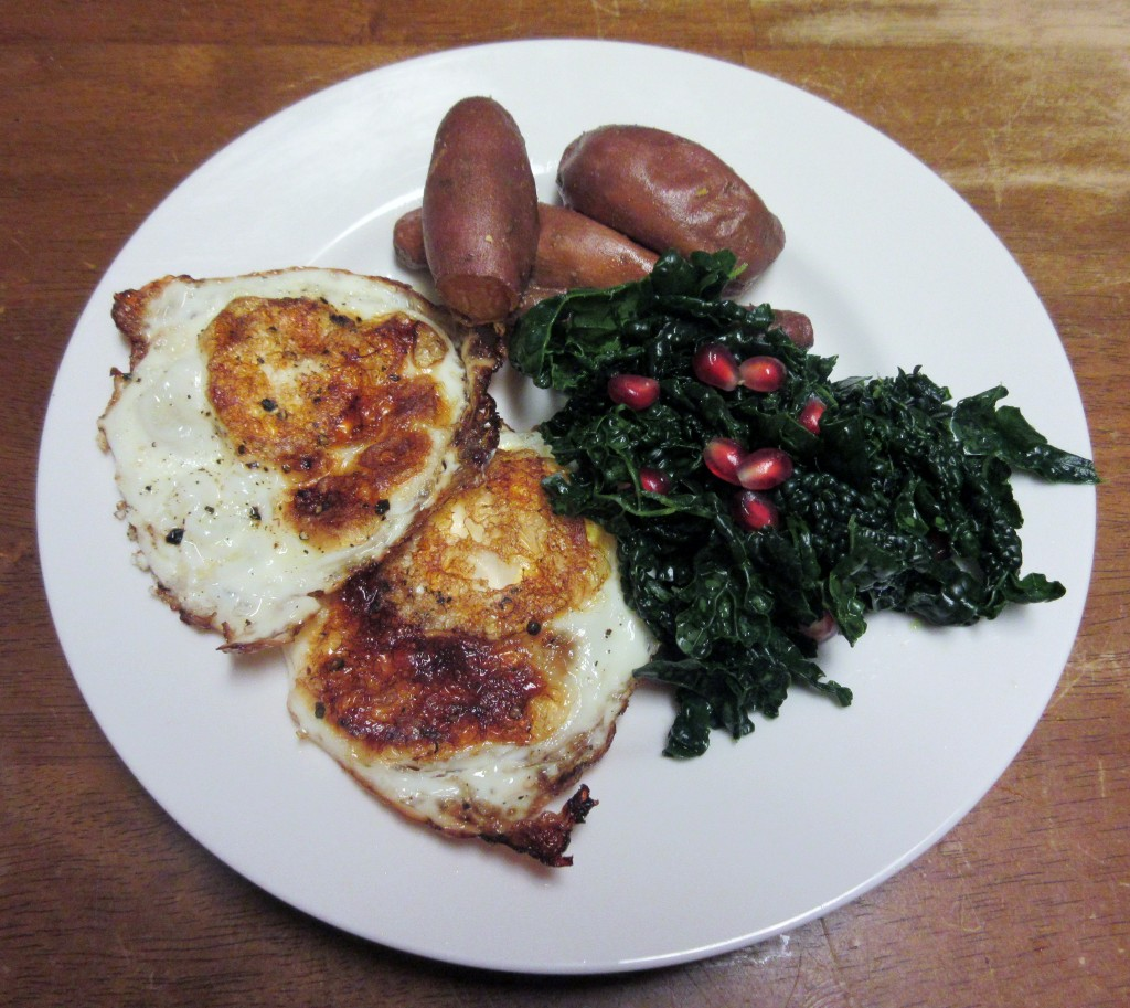 Fried Eggs with Kale Salad and Roasted Baby Sweet Potatoes