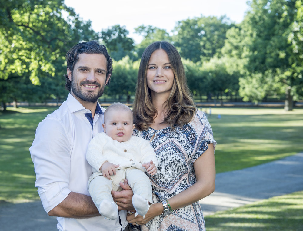 HRH Prince Carl Philip, HRH Princess Sofia, and HRH Prince Alexander in August 2016. Photo: Kate Gabor, The Royal Court, Sweden.