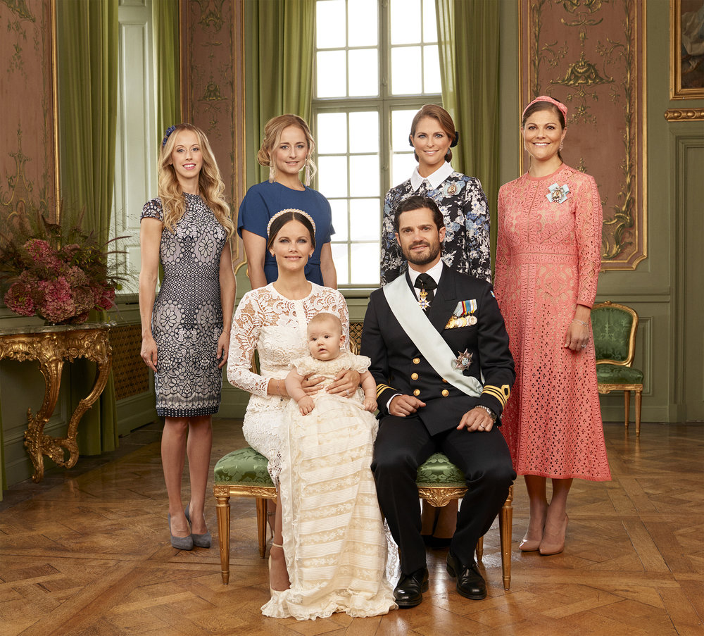 Princess Madeleine, back row second from left. Pictured with sister, Crown Princess Victoria; brother, Prince Carl Philip; sister-in-law, Princess Sofia; Sofia's sister, Lina; and Sofia's other sister, Sara. Photo: Mattias Edwall, The Royal Court, Sweden