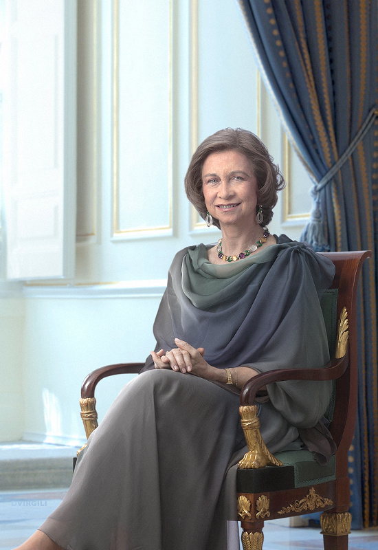 Queen Sofía - Princess Sophia of Greece and Denmark was born as the eldest child of King Paul of Greece and Queen Frederica on November 2, 1938, in Athens, Greece. She has a younger brother, the deposed King Constantine of Greece and a younger sister Princess Irene.She married then Infante Juan Carlos of Spain on May 14, 1962, in Athens, and she changed the spelling of her name to the Spanish Sofía. She also converted to Roman Catholicism from Greek Orthodoxy. Her husband was named a Prince of Spain in 1969 and later the King of Spain in 1975.Juan Carlos and Sofía have three children: Infanta Elena (b. 1963), Infanta Cristina (b. 1965), and King Felipe (b. 1968). They also have eight grandchildren.(Photo: © House of His Majesty the King / DVirgili)