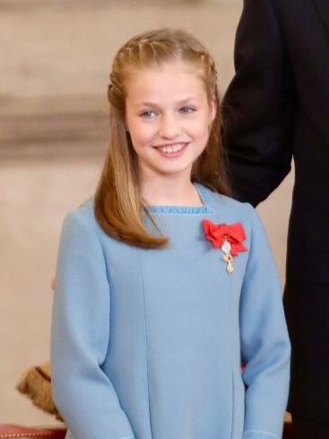 Princess Leonor - Born 31 October 2005 to the then Prince and Princess of Asturias (now King Felipe VI and Queen Letizia of Spain), she is the elder child of Their Majesties. She has a younger sister, Infanta Sofia. Since her father's ascension to the throne, she holds the title of Leonor, Princess of Asturias.Leonor attends the private Santa María de los Rosales School in Aravaca - just outside Madrid. She speaks fluent English and Spanish and reportedly is studying Mandarin.She was granted the Order of the Golden Fleece in January 2018 by her father. Photo: Ministry of the President. Government of Spain