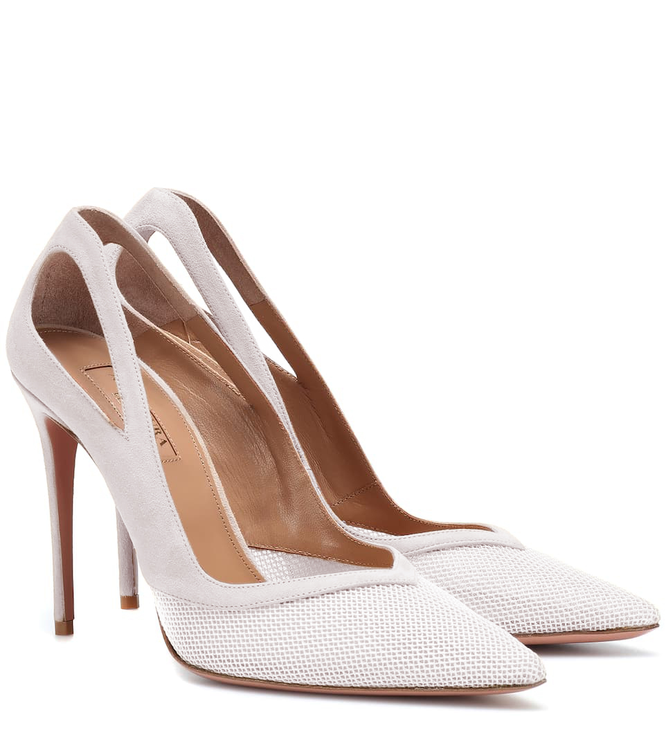 9f236c158 Jun 24 Givenchy Infinity 80 Pumps in Black Leather. Aquazzura Shiva Cut-out  Pumps in White Mesh