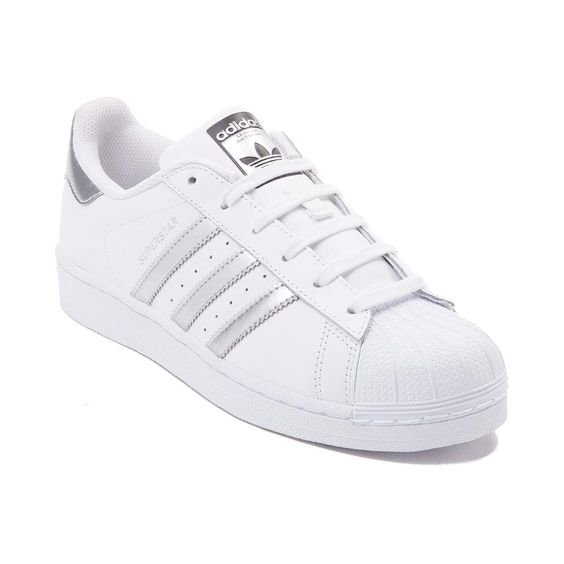 Adidas Superstar Trainers in Silver