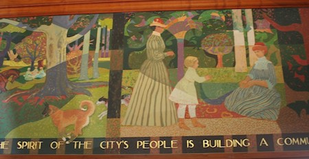 Millard Sheets, mural for Lombard St. branch of SF Public Library showing history of Sf. Though mural dates from the' 70s it does not show 20th century events, curiously.