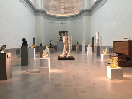 Lucas installation at Legion of Honor, featuring  Jubilee  (center) and  Floppy Toilets