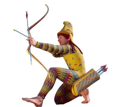 painted replica of a c490 BCE archer  from the Temple of Aphaia on the Greek island of Aegina.