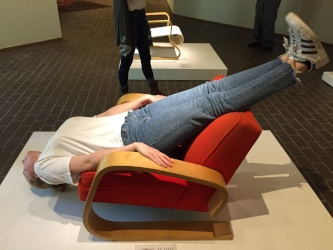 Sophie tries to follow directions from Erwin Wurm