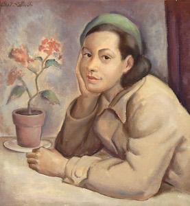 Charles Louis Sallee, Jr.,Girl with Pink Geranium ( 1936). The Harmon and Harriet Kelley Foundation for the Arts. © Charles Louis Sallee, Jr