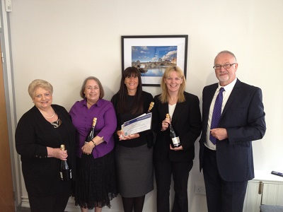 From Left to right: Angela Marsh-Bonnell (a lucky runner up, also from Windeatts), Liz Rodgers, our winner Sarah Watson, Julie Tedder and Martin Gill from PSG.