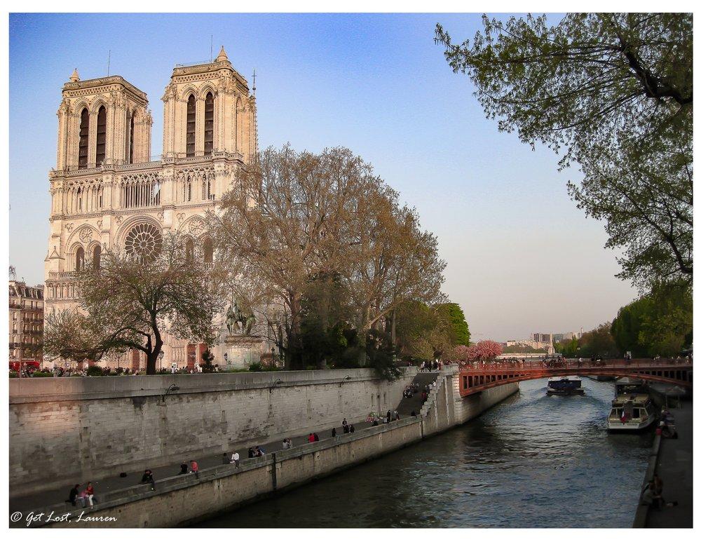 The Notre Dame Cathedral on the Ile de la Cite.