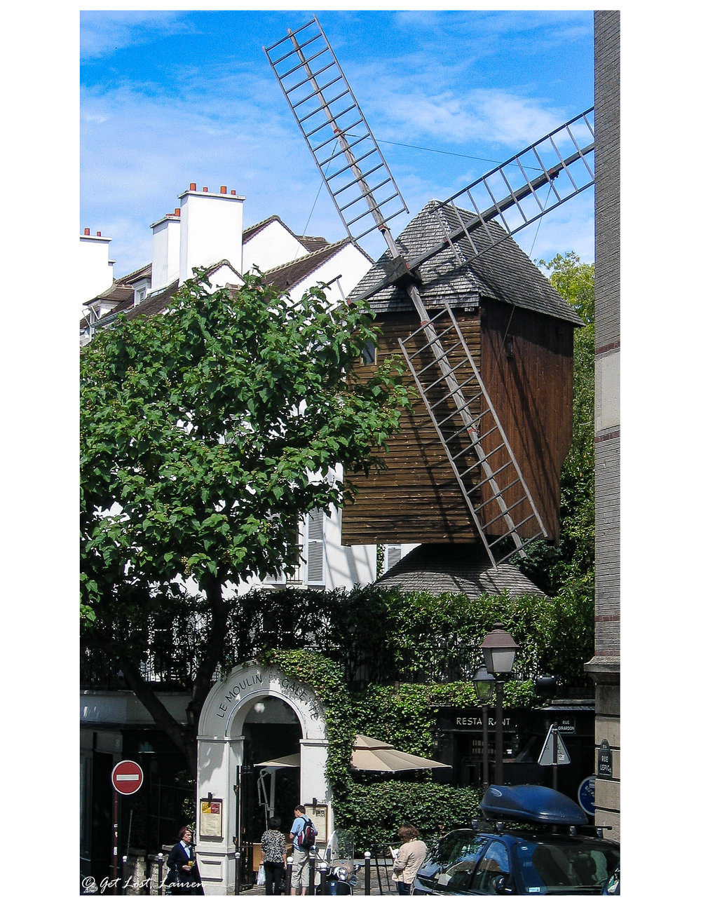 One of the last remaining windmills on Montmartre is home to a restaurant.