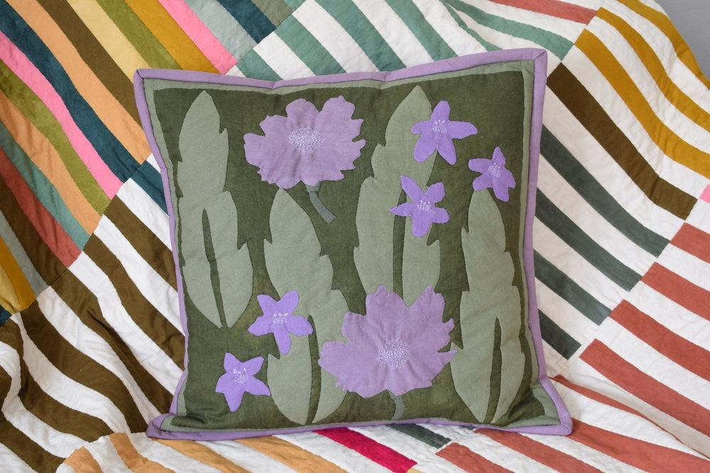 Appliquéd pillow from template.