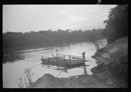 Old cable ferry between Camden and Gee's Bend taken by Marion Post Wolcott around 1939, Lib of Congress